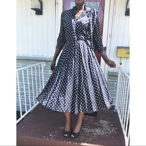 VTG Polka Dot Rockabilly Midi Silk Shirt Dress
